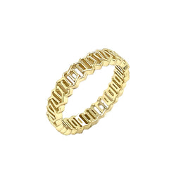 Honeycomb Link Statement Band Ring in Solid Yellow Gold
