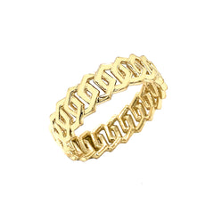 Dainty Honeycomb Link Band Ring in Solid Yellow Gold