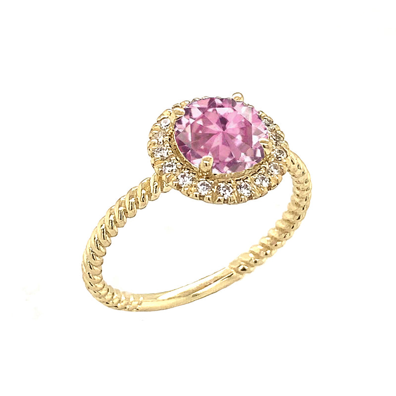 Round Cut Pink CZ Engagement Band Ring with Diamonds In Solid Yellow Gold