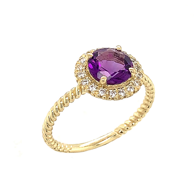 Round Cut Genuine Amethyst Engagement Band Ring with Diamonds In Solid Yellow Gold