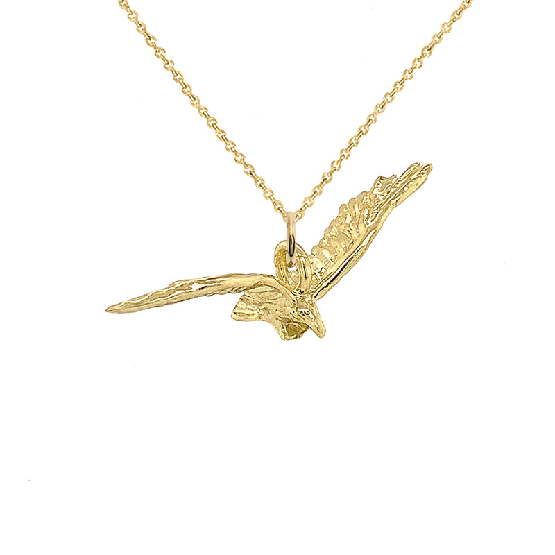 5D Solid Gold Flying Bird Charm Pendant/Necklace