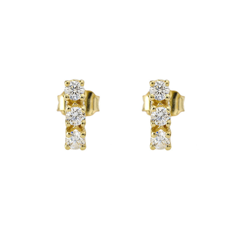Three-Diamonds Stud Earrings in Solid Gold