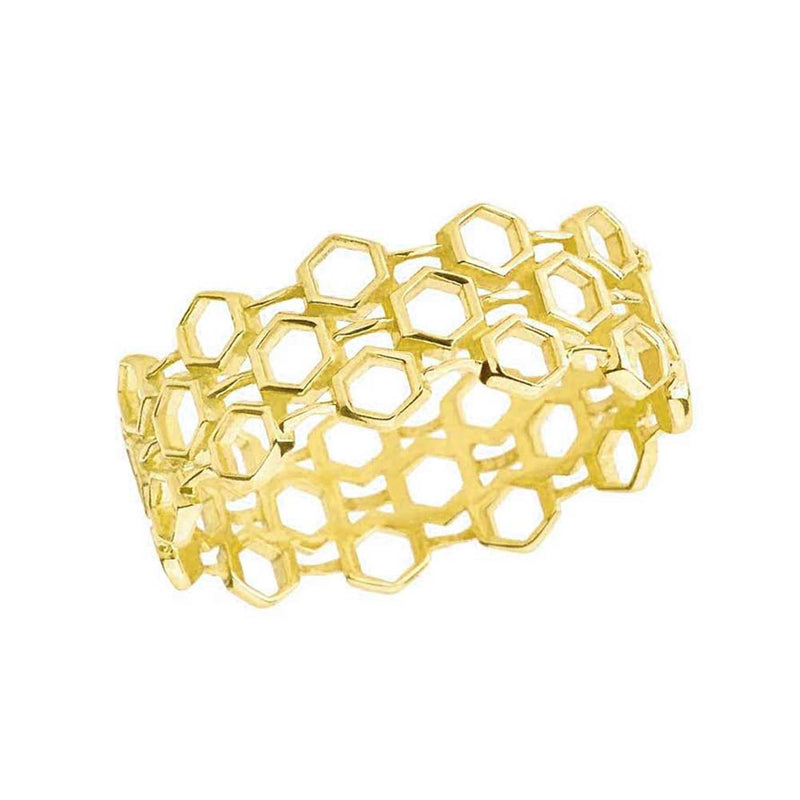 Honeycomb Statement Band in 14k Solid Gold