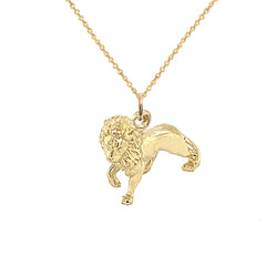 5D Solid Gold Full Body Lion Charm Pendant Necklace