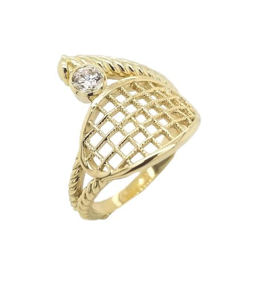 Tennis Racquet Rope Ring In Gold