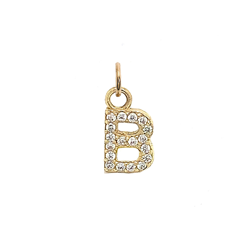 "Customizable Diamond Initial ""B"" Pendant Necklace in Solid Gold"