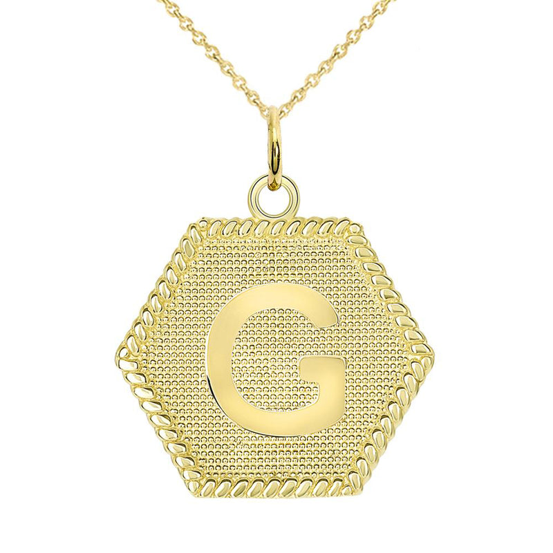 "Initial ""G"" Gold Medallion Pendant Necklace"