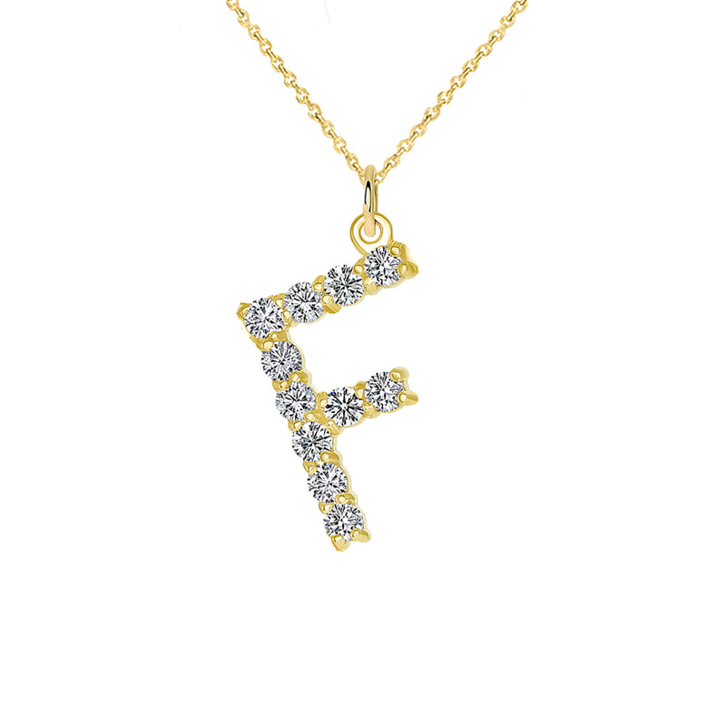 "Initial ""F"" Diamond Letter Pendant/Necklace in Solid Gold"