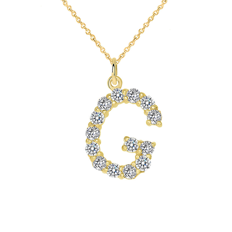 "Initial ""G"" Diamond Letter Pendant/Necklace in Solid Gold"