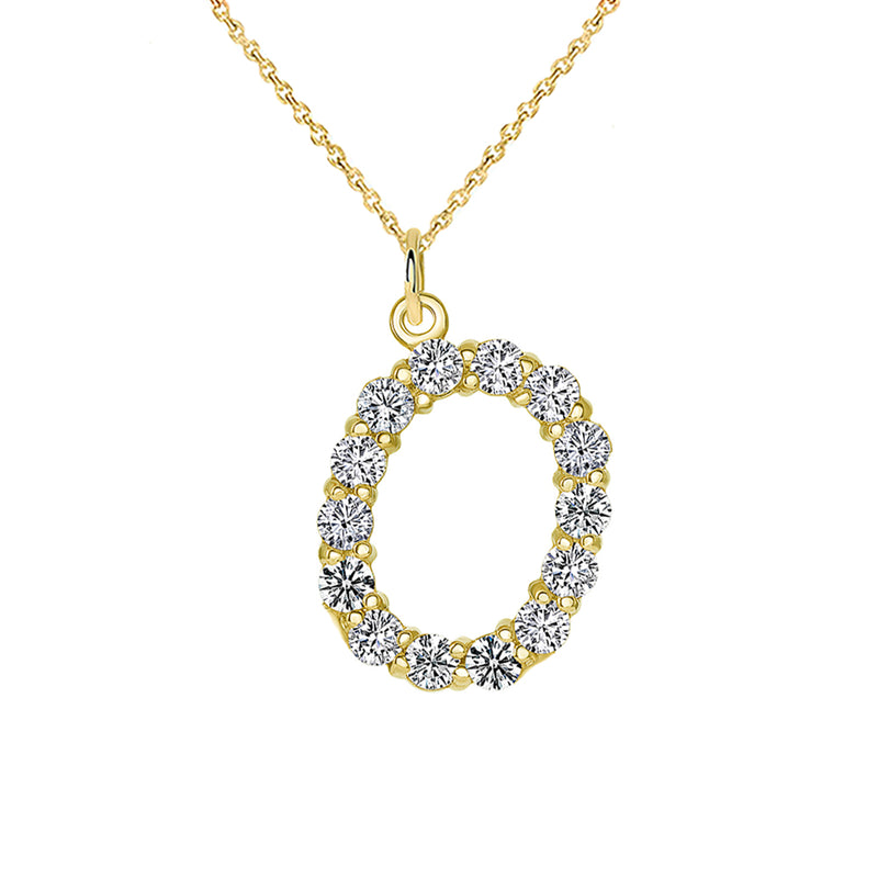 "Initial ""O"" CZ Letter Pendant/Necklace in Solid Gold"