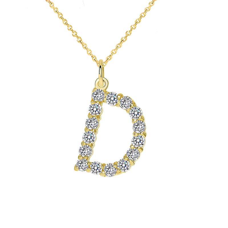 "Initial ""D"" Diamond Letter Pendant/Necklace in Solid Gold"