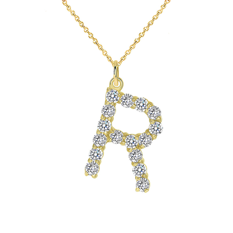 "Initial ""R"" CZ Letter Pendant/Necklace in Solid Gold"