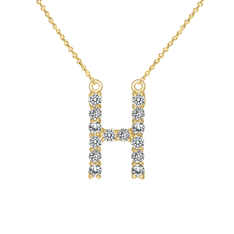"Initial ""H"" Diamond Letter Necklace in Solid Gold"