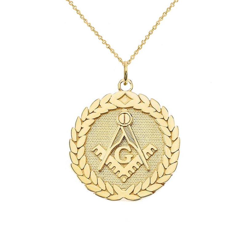 Solid Gold Round Masonic Symbol Pendant Necklace