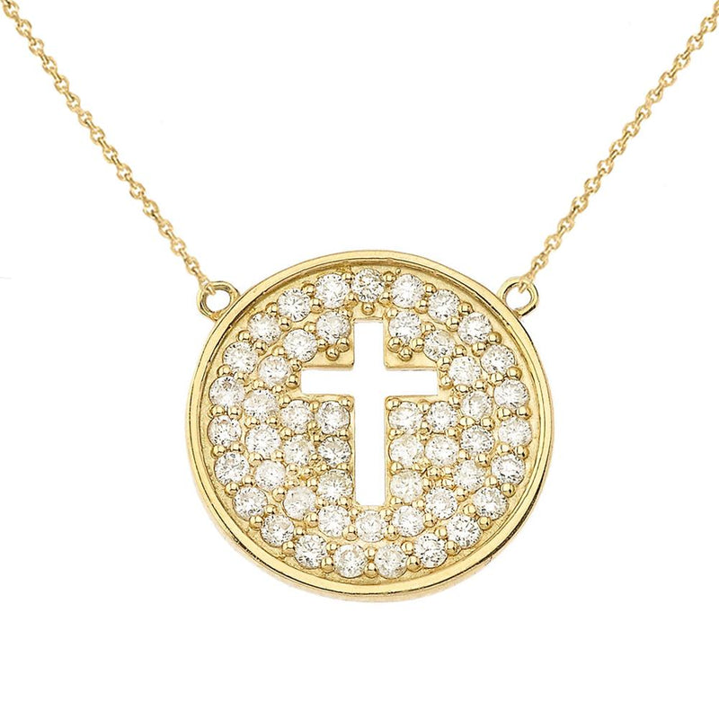 Micro Pave Diamond Round Cut-Out Cross Necklace In Solid Gold