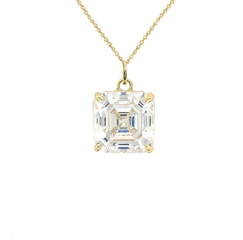 Solitaire Asscher-Cut CZ Pendant Necklace in Gold (Small)