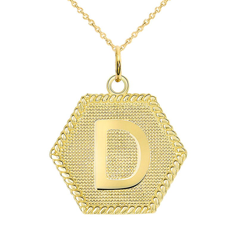 "Initial ""D"" Gold Medallion Pendant Necklace"