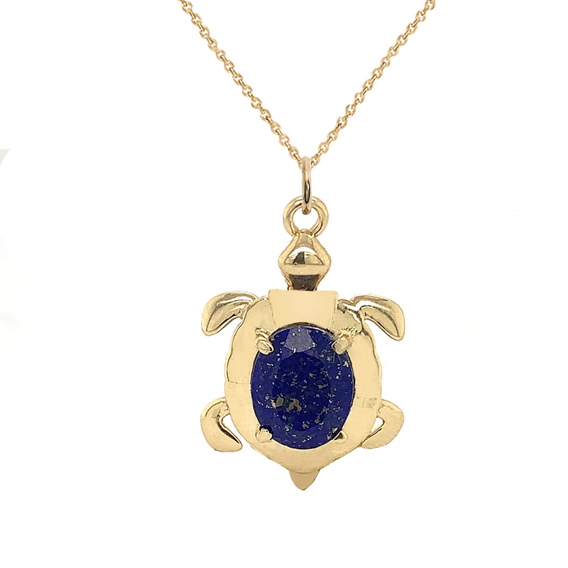 Solid Gold Sea Turtle Pendant Necklace