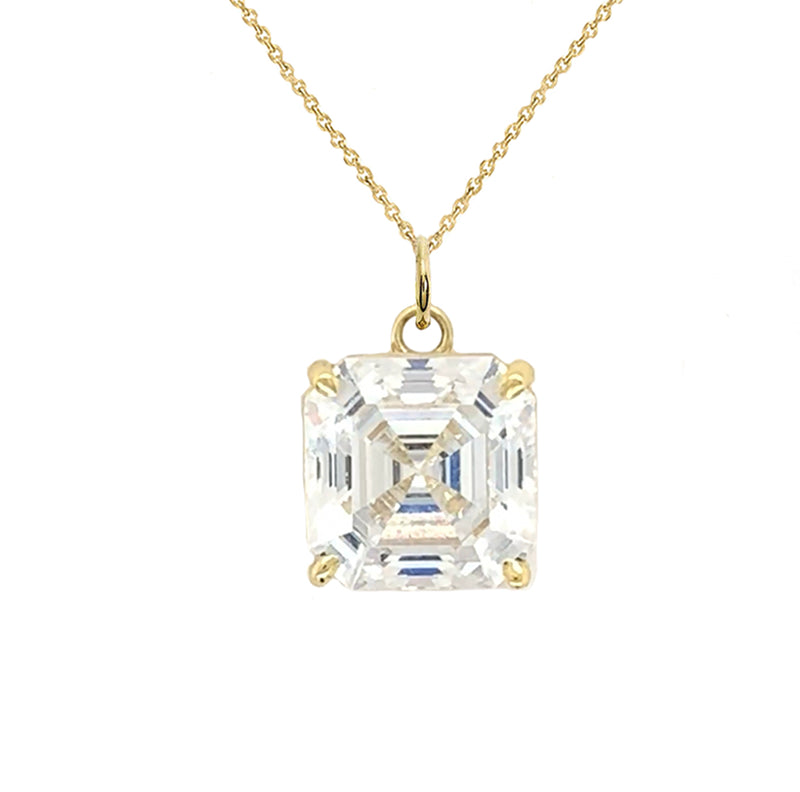 Solitaire Asscher-Cut CZ Pendant Necklace in Gold (Large)