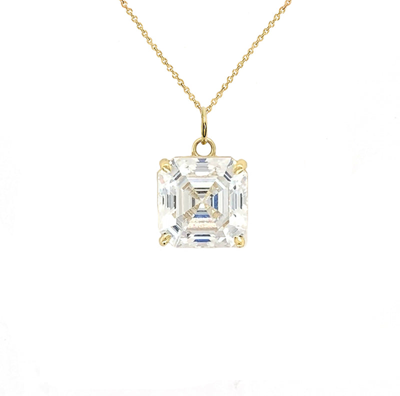 Solitaire Asscher-Cut CZ Pendant Necklace in Gold (X-Small)