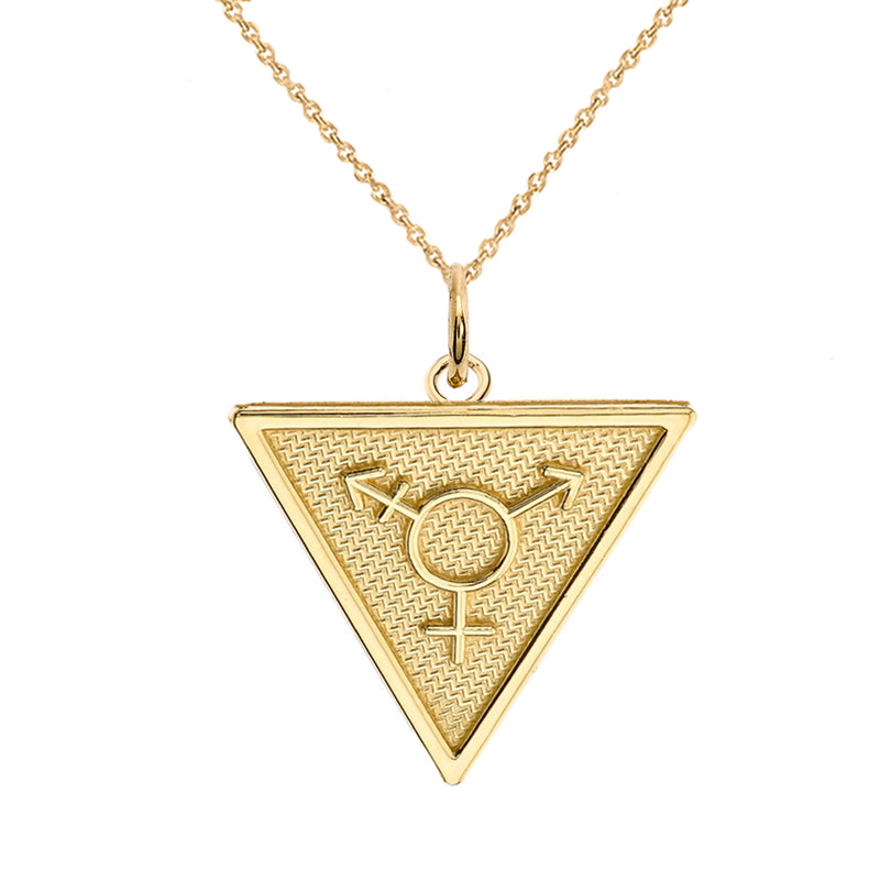Transgender Symbol Triangle Pendant/Necklace In Solid Gold