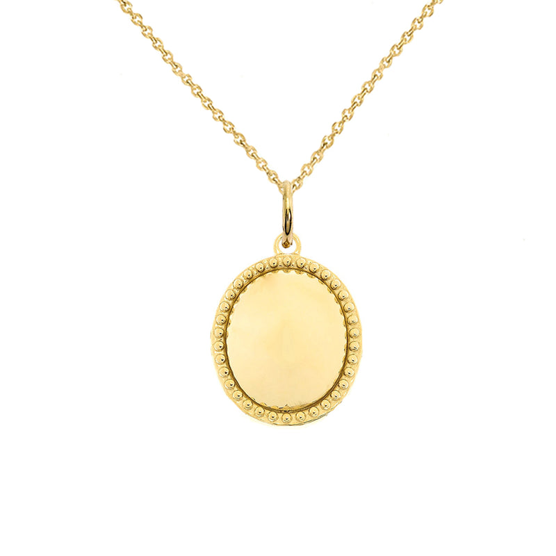 Milgrain Oval Shaped Statement Pendant/Necklace In Solid Gold