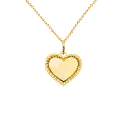 Milgrain Heart Shaped Statement Pendant/Necklace In Solid Gold