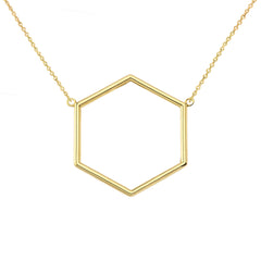 Solid Gold Dainty Honeycomb Cut-Out Necklace