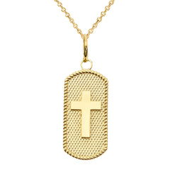 Cross Statement Dog Tag Pendant Necklace in Solid Gold