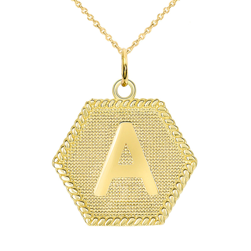 "Initial ""A"" Gold Medallion Pendant Necklace"