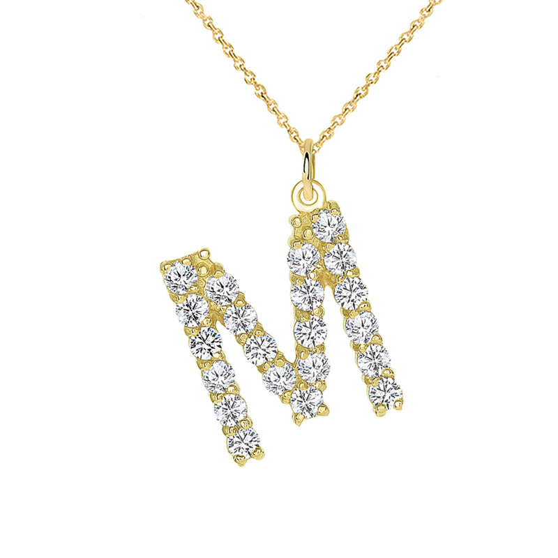 "Initial ""M"" CZ Letter Pendant/Necklace in Solid Gold"