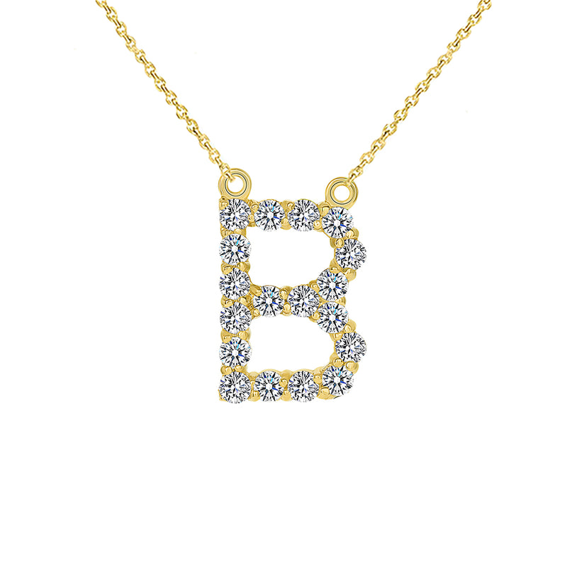 "Initial ""B"" Diamond Letter Necklace in Solid Gold"