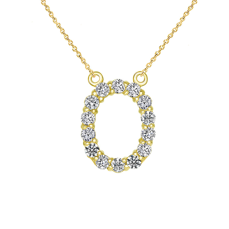 "Initial ""O"" Diamond Letter Necklace in Solid Gold"
