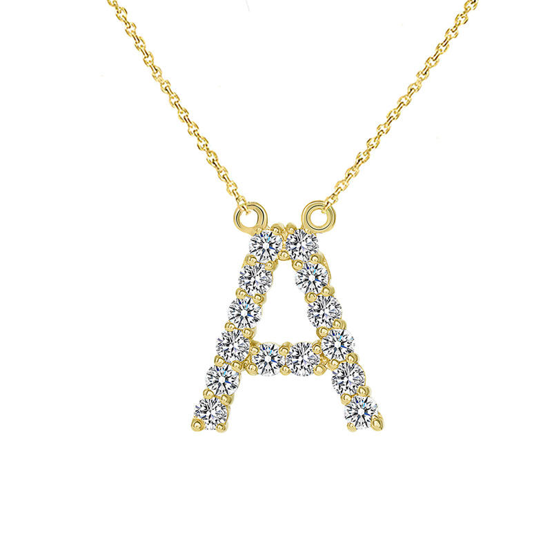 "Initial ""A"" CZ Letter Necklace in Solid Gold"