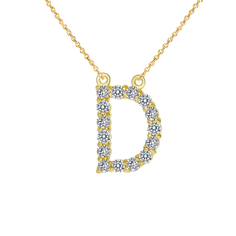 "Initial ""D"" CZ Letter Necklace in Solid Gold"