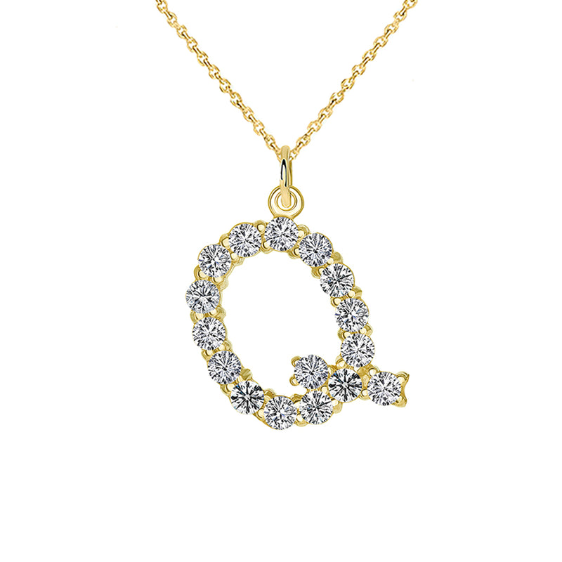 "Initial ""Q"" CZ Letter Pendant/Necklace in Solid Gold"