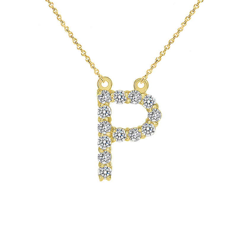 "Initial ""P"" CZ Letter Necklace in Solid gold"