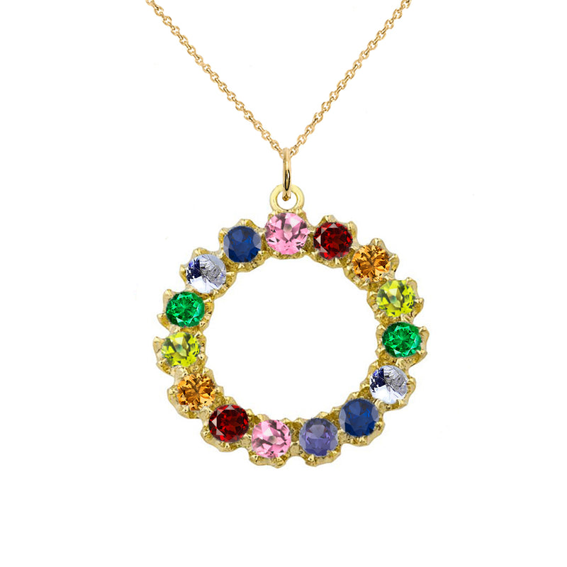 Circle of Pride Statement Pendant/Necklace in Solid Gold(Yellow/Rose/White)