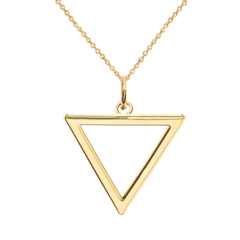 Open Triangle Outline Charm Pendant/Necklace in Solid Gold