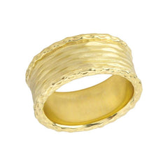 Unique Textured Statement Band Ring in Solid Yellow Gold