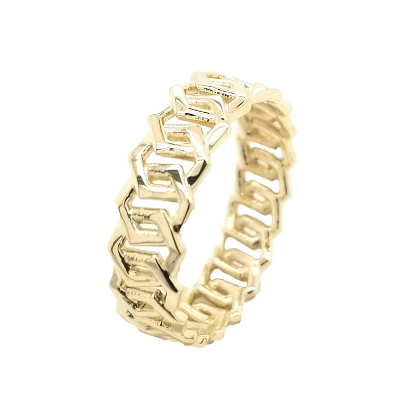Honeycomb Statement Band in Solid Gold