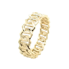 Solid Gold Honeycomb Statement Band