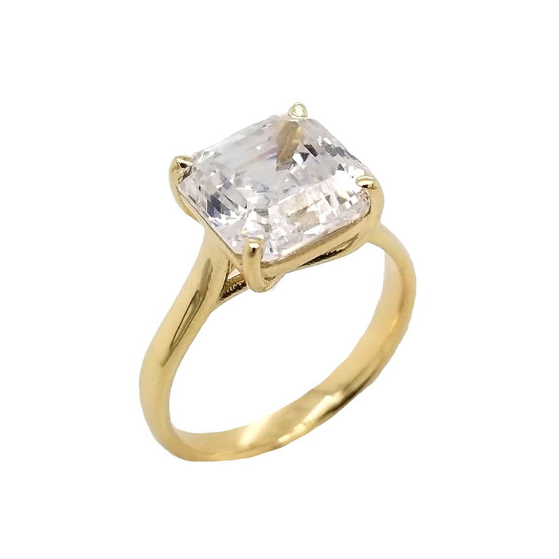 Solitaire 7 Ct. Asscher Cut Engagement Statement Ring In Solid Gold