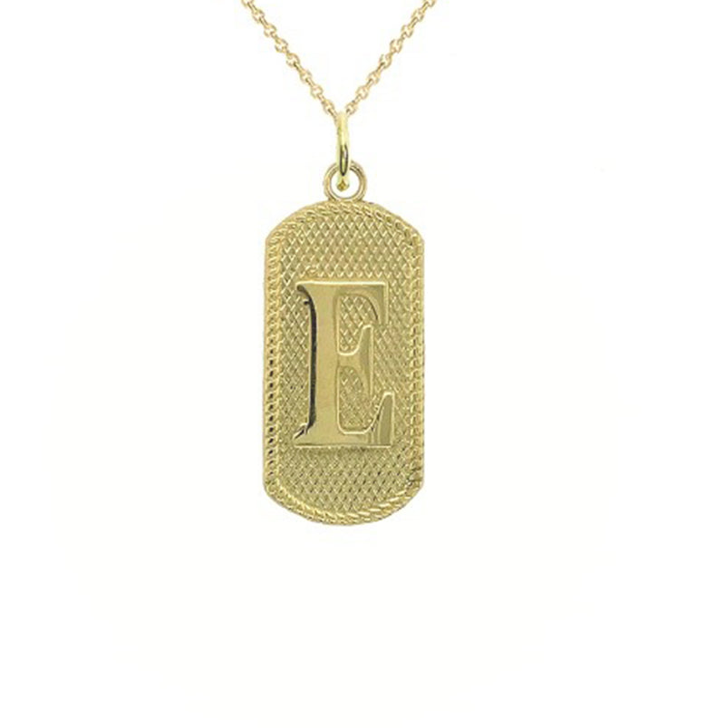 "Initial Letter ""E"" Dog Tag Pendant Necklace in Solid Gold"