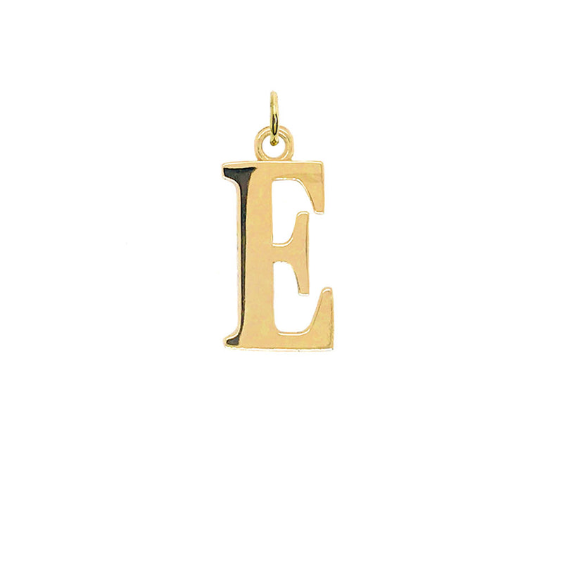 "Letter ""E"" Initial Pendant Necklace in Gold"