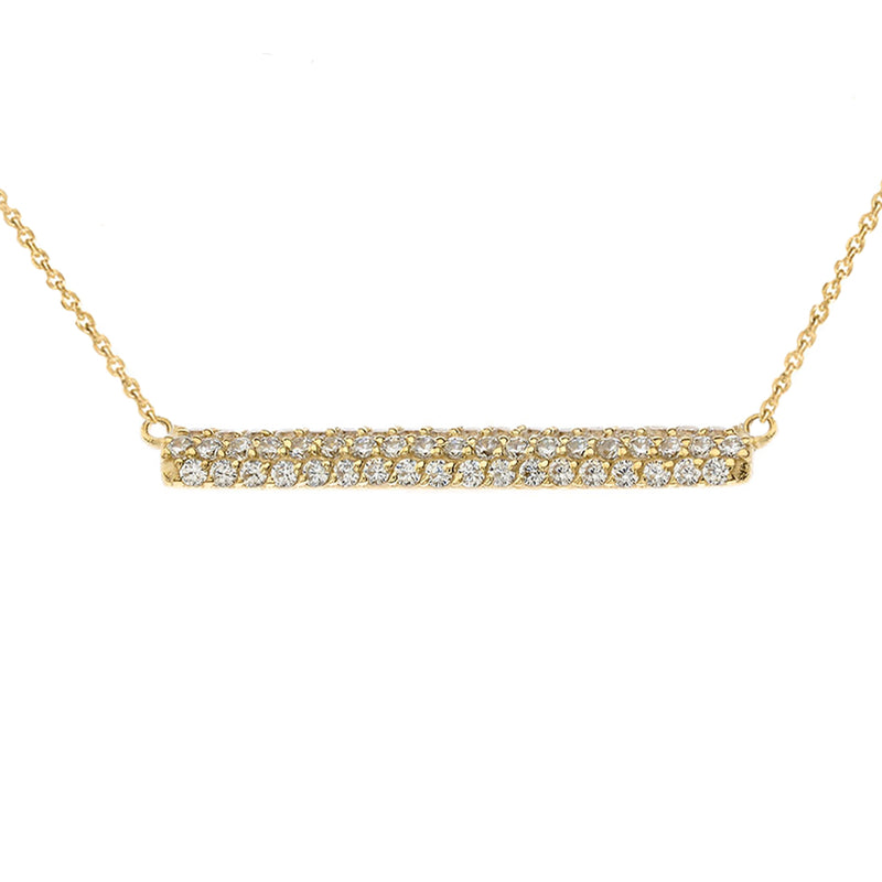 Solid Gold Diamond Bar Necklace