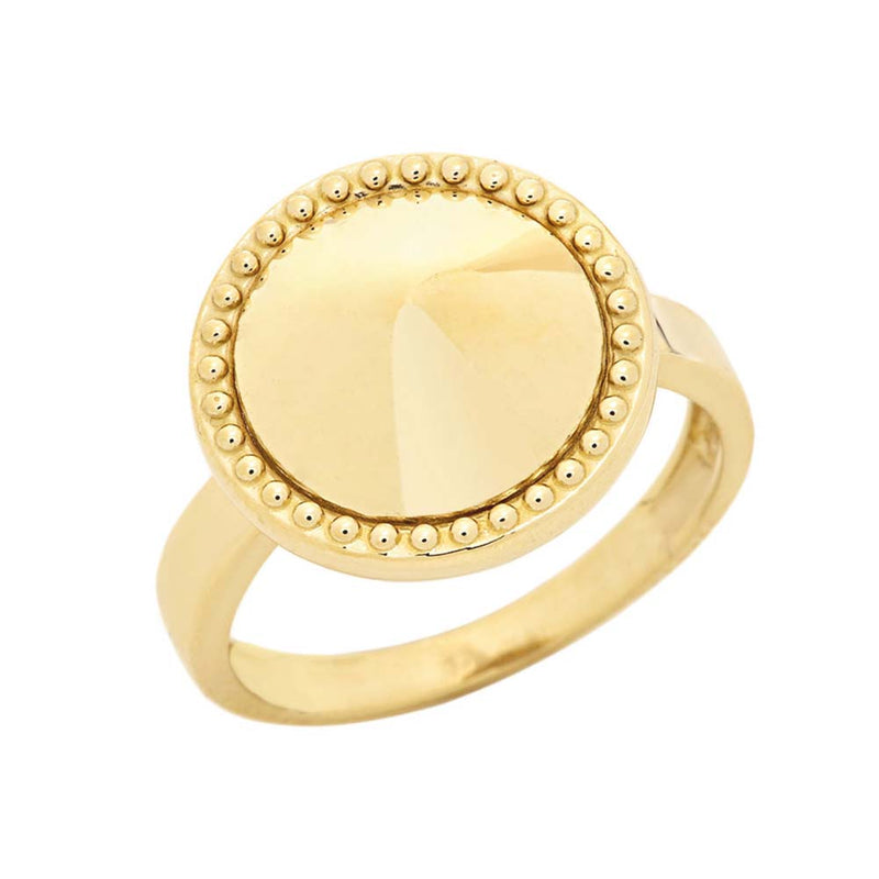 Milgrain Round Shaped Statement Ring In Solid Yellow Gold