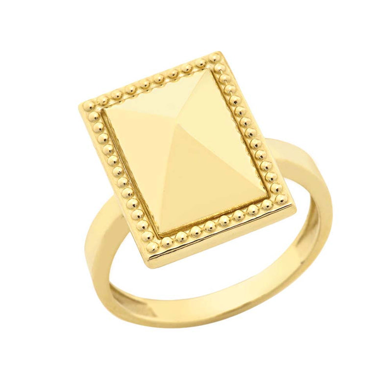 Milgrain Rectangle Shaped Statement Ring In Solid Yellow Gold