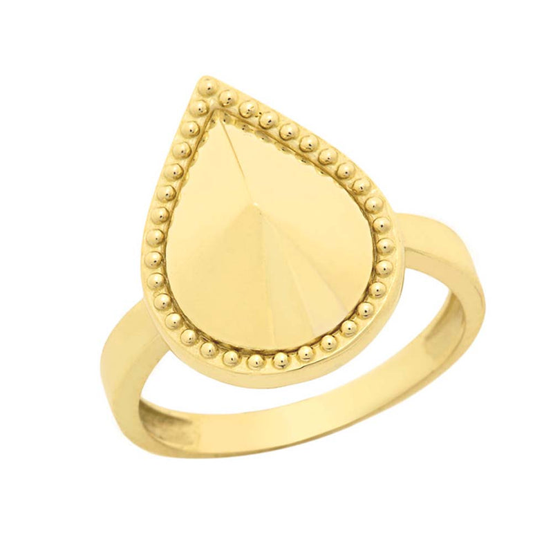 Milgrain Pear Shaped Statement Ring In Solid Yellow Gold