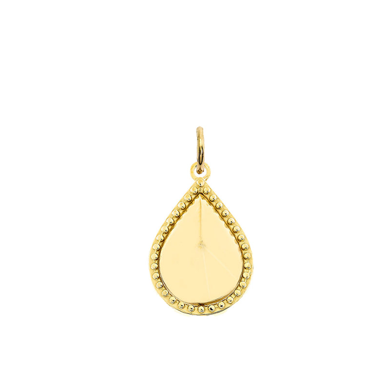 Milgrain Pear Shaped Statement Pendant/Necklace In Solid Gold